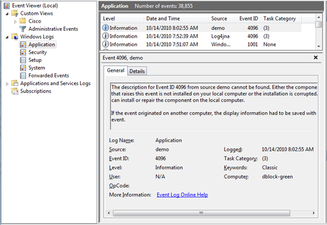 log4jna: log4j:ERROR Could not register event source (Access is